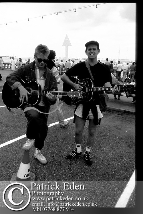 Musicians, John Wroath and Nathan King, Busking, Cowes Week, Isle of Wight, UK,