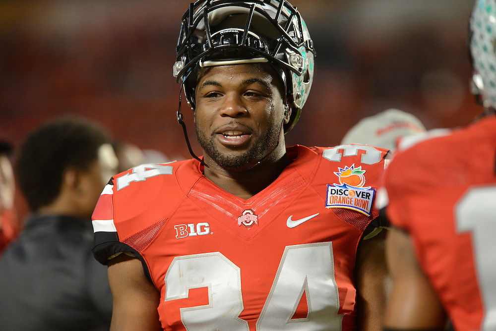 January 3, 2014: Carlos Hyde #34 of Ohio State warms up before the NCAA football game between the Clemson Tigers and the Ohio State Buckeyes at the 2014 Orange Bowl in Miami Gardens, Florida.