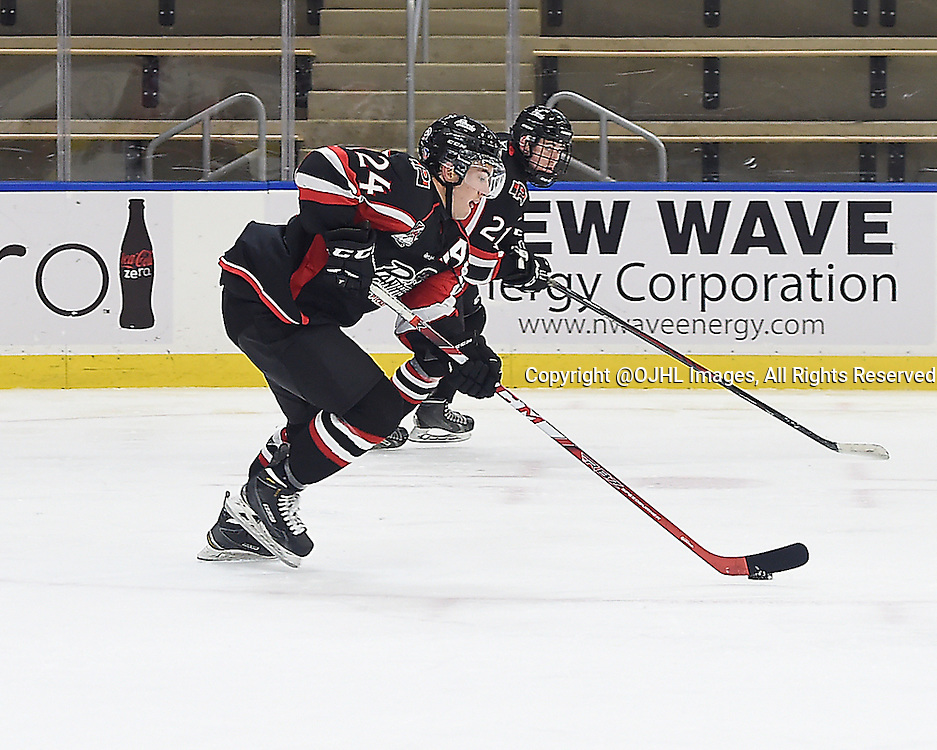 BUFFALO, ON - Sep 22, 2015 : Ontario Junior Hockey League game action between Oakville and Pickering at the Showcase, Kyler Challis #24 of the Pickering Panthers skates with the puck during the second period.<br /> (Photo by Andy Corneau / OJHL Images)