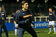 Adam Mekki warms up before the The FA Cup match between Bromley and Bristol Rovers at the Westminster Waste Stadium, Bromley, United Kingdom on 19 November 2019.
