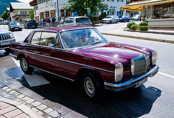 ROTTACH-EGERN, GERMANY - Wednesday, July 26, 2017: A vintage red Mercedes car in Rottach-Egern, the base for Liverpool's preseason training camp in Germany. (Pic by David Rawcliffe/Propaganda)