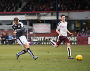Dundee&rsquo;s Rory Loy misses a great chance to level - Dundee v Hearts - Ladbrokes Premiership at Dens Park <br />  - &copy; David Young - www.davidyoungphoto.co.uk - email: davidyoungphoto@gmail.com