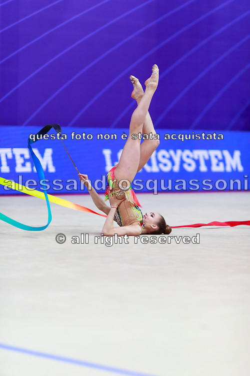Salos Anastasiia during final at ribbon in Pesaro World Cup at Adriatic Arena on April 15, 2018. Anastasiia born on February 18 ,2002 in Barnaul. She is a rhythmic gymnast member of the Belarusian National Team.