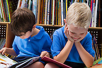Little Boys Reading Picture Books