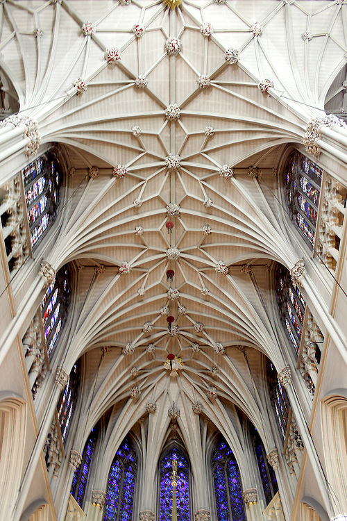 St. Patrick's Cathedral, a Neo-Gothic-style Roman Catholic cathedral is the seat of the archbishop of the archdiocese of New York, Ceiling perspective detail, Manhattan, NYC