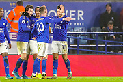 Goal Leicester City forward Ayoze Pérez (17) scores a goal and celebrates 4-1 during the Premier League match between Leicester City and West Ham United at the King Power Stadium, Leicester, England on 22 January 2020.