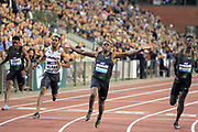 Christian Coleman (USA) celebrates after winning the 100m in 9.79 in the 43nd Memorial Van Damme in an IAAF Diamond League meet at King Baudouin Stadium in Brussels, Belgium on Friday,August 31, 2018. From left: Isiah Young (USA), Yohan Blake (JAM), Coleman and Reece Prescod (GBR). (Jiro Mochizuki/Image of Sport)