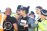 BIRMINGHAM UK 08.04.2017  The  Woman subject of  picture that has  gone viral after standing up to a member of the EDL was also arrested that day by West Midlands police.