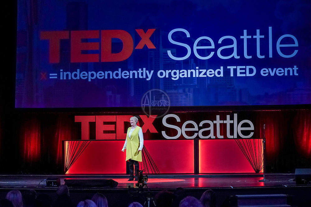 Tall Order TEDx Seattle 2018. Elizabeth Coppinger (TedX Executive Director). Photo by Alabastro Photography.