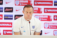 Wayne Rooney of England during the England press conference at Est&aacute;dio Claudio Coutinho, Rio de Janeiro<br /> Picture by Andrew Tobin/Focus Images Ltd +44 7710 761829<br /> 21/06/2014