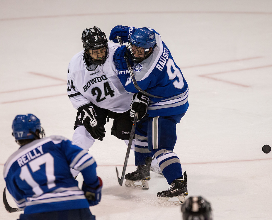 Colby College Forward E.J. Rauseo  (9) and Bowdoin College Defenseman John-Alexander Kourkoulis (24) during a NCAA Division III hockey game between Colby College and Bowdoin College on December 5, 2015 at Sidney J. Watson Arena on the campus of Bowdoin College in Brunswick, ME.  (Dustin Satloff)