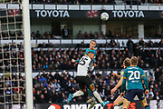 Jackson Irvine heads the ball during the EFL Sky Bet Championship match between Derby County and Hull City at the Pride Park, Derby, England on 18 January 2020.
