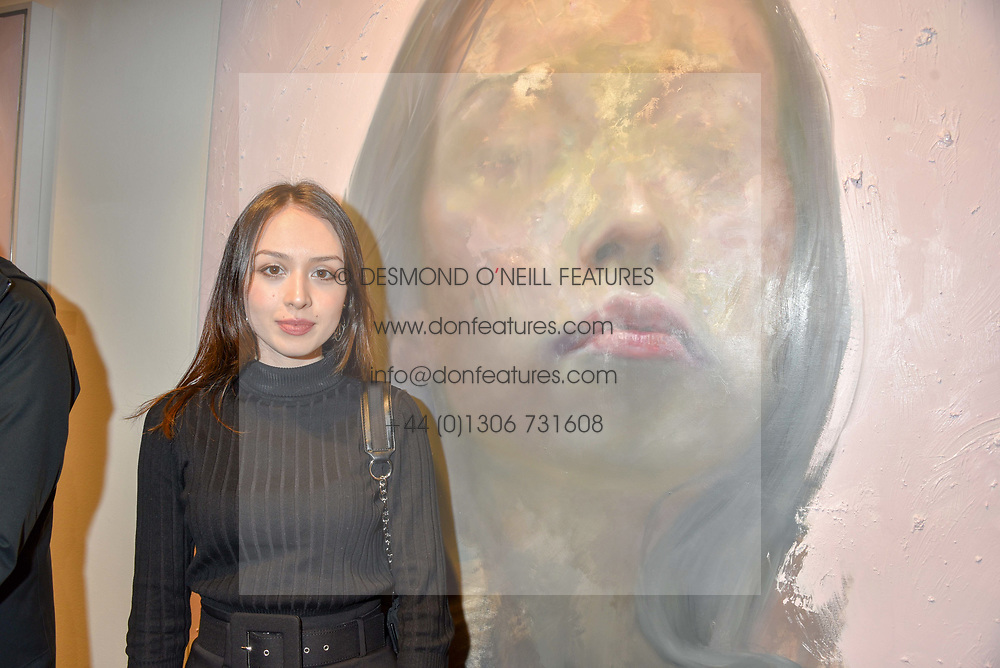 12 December 2019 - Aneilya Ibraimova at a private view of Lethe by Henrik Uldalen at JD Malat Gallery. 30 Davies Street, London.<br /> <br /> Photo by Dominic O'Neill/Desmond O'Neill Features Ltd.  +44(0)1306 731608  www.donfeatures.com