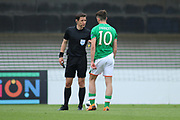 Troy Parrot of Republic of Ireland (10) gets a telling off from Referee Halil Umut Meler of Turkey during the UEFA European Under 17 Championship 2018 match between Bosnia and Republic of Ireland at Stadion Bilino Polje, Zenica, Bosnia and Herzegovina on 11 May 2018. Picture by Mick Haynes.