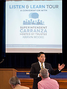 Superintendent Richard Carranza comments during a stop of his Listen & Learn Tour of the district at Memorial Elementary School, September 16, 2016.