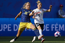 June 29, 2019 - Rennes, France - Svenja Huth (FFC Turbine Potsdam) of Germany and Fridolina Rolfo (FC Bayern Munchen) of Sweden competes for the ball during the 2019 FIFA Women's World Cup France Quarter Final match between Germany and Sweden at Roazhon Park on June 29, 2019 in Rennes, France. (Credit Image: © Jose Breton/NurPhoto via ZUMA Press)