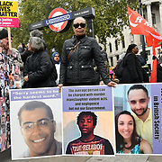 Stephanie Lightfoot-Bennett is Leon Patterson sister join the United Families and Friends Campaign (UFFC) 20th Anniversary Procession march to Downing Street demand ask demand justice for their love one killed by polices on 27 October 2018, London, UK.