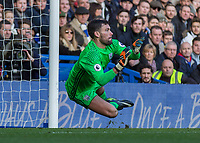 Football - 2016 / 2017 Premier League - Chelsea vs. West Bromwich Albion<br /> <br /> Ben Foster of West Bromwich Albion dives low to his right as he prepares  to stop a shot at Stamford Bridge.<br /> <br /> COLORSPORT/DANIEL BEARHAM