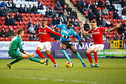 Fleetwood Town striker Devante Cole (44) looks to have shot on goal during the EFL Sky Bet League 1 match between Charlton Athletic and Fleetwood Town at The Valley, London, England on 4 February 2017. Photo by Andy Walter.