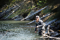 Man fly fishing on the Buffalo River, near the confluence of the Henry's Fork of the Snake in NE Idaho.