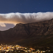 Table Mountain on a full moon night, Cape Town, South Africa