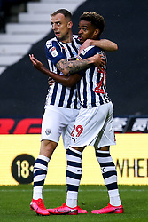 Grady Diangana of West Bromwich Albion celebrates with teammate Kamil Grosicki of West Bromwich Albion after scoring a goal to make it 1-0 - Mandatory by-line: Robbie Stephenson/JMP - 08/07/2020 - FOOTBALL - The Hawthorns - West Bromwich, England - West Bromwich Albion v Derby County - Sky Bet Championship