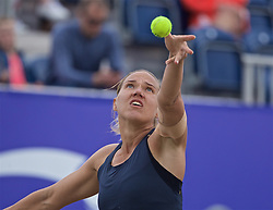 LIVERPOOL, ENGLAND - Sunday, June 23, 2019: Kaia Kanepi (EST) serves during the Ladies' Final on during Day Four of the Liverpool International Tennis Tournament 2019 at the Liverpool Cricket Club. (Pic by David Rawcliffe/Propaganda)