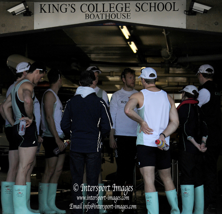 Putney. London. Tideway Week build up to the   2011 University Boat Race over parts of the Championship Course - Putney to Mortlake. Cambridge, CUBC [Blue Boat], crew in Boathouse, discuss the outing,  Wednesday 23/03/2011  [Mandatory Credit; Karon Phillips/Intersport-images]..Crew:.CUBC. Bow Mike THORP, 2 Joel JENNINGS, 3 Dan- RIX STANDING, 4 Hardy CUBASCH, 5 George NASH, 6 Geoff ROTH, 7 Derek RASMUSSEN, Stroke David NELSON and Cox Liz BOX. ... 2011 Tideway Week