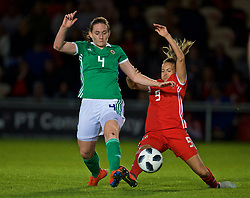 NEWPORT, WALES - Tuesday, September 3, 2019: Northern Ireland's Sarah McFadden (L) and Wales' Kayleigh Green during the UEFA Women Euro 2021 Qualifying Group C match between Wales and Northern Ireland at Rodney Parade. (Pic by David Rawcliffe/Propaganda)