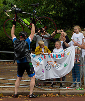 A family wait for Ben and Waheed at the end of the sportives on The Mall. The Prudential RideLondon Sportives. Sunday 29th July 2018<br /> <br /> Photo: Andrew Baker for Prudential RideLondon<br /> <br /> Prudential RideLondon is the world's greatest festival of cycling, involving 100,000+ cyclists - from Olympic champions to a free family fun ride - riding in events over closed roads in London and Surrey over the weekend of 28th and 29th July 2018<br /> <br /> See www.PrudentialRideLondon.co.uk for more.<br /> <br /> For further information: media@londonmarathonevents.co.uk