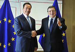 59895730<br /> European Commission President Jose Manuel Barroso (R) welcomes U.S. actor and former Governor of California Arnold Schwarzenegger before their meeting at the European Union headquarters in Brussels, capital of Belgium, Monday June 24, 2013.  Picture by imago / i-Images<br /> UK ONLY