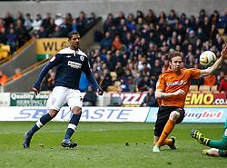 Huddersfield's Jermaine Beckford scores the third goal- Photo mandatory by-line: Matt Bunn/JMP  - Tel: Mobile:07966 386802 13/04/2013 - Wolverhampton Wanderers v Huddersfield Town - SPORT - FOOTBALL - Championship -  Wolverhampton - Molinuex-