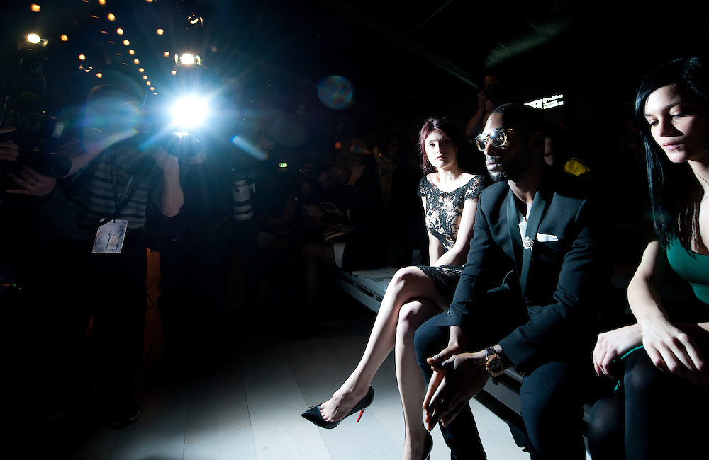 Gemma Arterton & Tinie Tempah front row at ISSA London Catwalk  February 18th 2012...Day 2 of London Fashion Week..