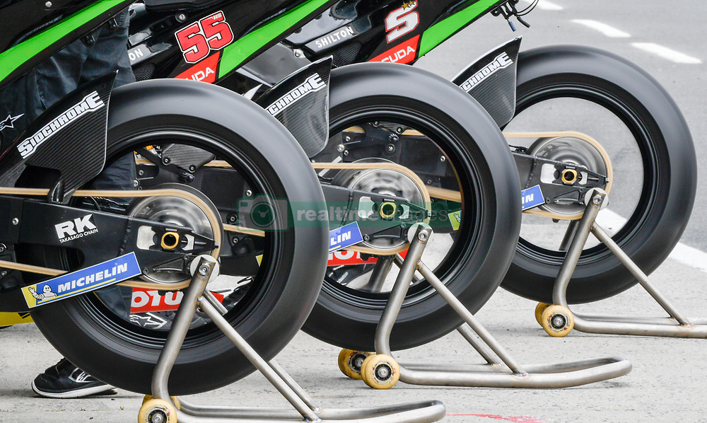October 26, 2018 - Melbourne, Victoria, Australia - Bike belonging to French rider Johan Zarco (#5) of Monster Yamaha Tech 3 and Thai rider Hafizh Syahrin (#55) of Monster Yamaha Tech 3 a warming up during day 2 of the 2018 Australian MotoGP held at Phillip Island, Australia. (Credit Image: © Theo Karanikos/ZUMA Wire)
