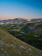 Looking southeast across the Rock Creek Valley from above treeline, Absaroka-Beartooth Wilderness, Custer National Forest, Montana