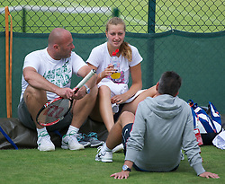 LONDON, ENGLAND - Friday, July 1, 2011: Petra Kvitova (CZE) with her two coaches during a practice session ahead of her first Grand Slam Final match on day eleven of the Wimbledon Lawn Tennis Championships at the All England Lawn Tennis and Croquet Club. (Pic by David Rawcliffe/Propaganda)