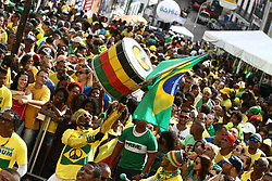 June 22, 2018 - Salvador, Brazil - SALVADOR, BA - 22.06.2018: TORCIDA DO BRASIL EM SALVADOR - Olodum agitates in Pelourinho, in Salvador, Bahia, during a game between Brazil and Costa Rica, valid for the 2018 World Cup in Russia. (Credit Image: © Mauro Akin Nassor/Fotoarena via ZUMA Press)