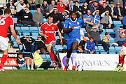 Gillingham FC forward Jay Emmanuel-Thomas 50 plays a pass to Gillingham FC midfielder Bradley Dack (23) during the EFL Sky Bet League 1 match between Gillingham and Charlton Athletic at the MEMS Priestfield Stadium, Gillingham, England on 22 October 2016. Photo by Andy Walter.