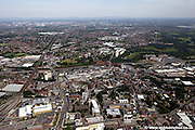 aerial photograph of Stockport town centre Stockport Cheshire Greater Manchester England UK