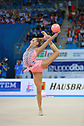 Staniouta Melitina during final at ball in Pesaro World Cup April 12, 2015. Melitina is an Belarusian rhythmic gymnast, she was born in November 15, 1993 in Minsk. She is a three time World All-around bronze medalist in 2015, 2013, 2010 retired from rhythmic gymnastics in December 2016.