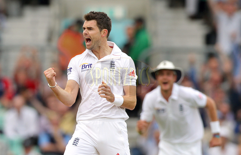 © Andrew Fosker / Seconds Left Images 2012 - England's James Anderson celebrates the early wicket of  South Africa's Alviro Petersen  LBW for 0  - England's Stuart Broad is right  - England v South Africa - 1st Investec Test Match -  Day 2 - The Oval  - London - 20/07/2012