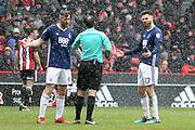Daryl Murphy of Nottingham Forest (9) and Ben Brereton of Nottingham Forest (17) given a word by match referee Paul Tierney during the EFL Sky Bet Championship match between Sheffield United and Nottingham Forest at Bramall Lane, Sheffield, England on 17 March 2018. Picture by Mick Haynes.