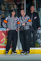 KELOWNA, CANADA - APRIL 30: Referees Steve Papp and Reagan Vetter on April 30, 2017 at Prospera Place in Kelowna, British Columbia, Canada.  (Photo by Marissa Baecker/Shoot the Breeze)  *** Local Caption ***