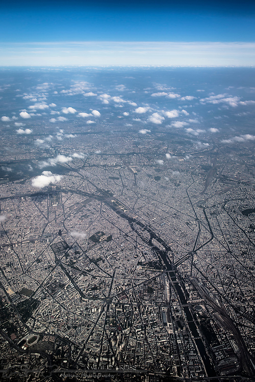 Aerial photo of Paris by day