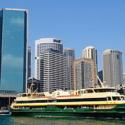 Sydney Ferry with the CBD skyline in the background at Circular Quay