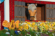 """Burbank CA, Tournament of Roses """"Barnyard Aces"""" Animation Trophy, Horses, Stable, Barn, Window, Decorated"""