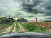 ROAD TRIP: Photographers Georgie Gillard and Rick Findler drove 1,973 miles and through nine countries for a friends wedding in Lake Garda, Northern Italy. Armed only with an iPhone and pushed for time, they decided to document their journey through the windscreen of their car.<br /> Pictured: Tongeren, Belgium