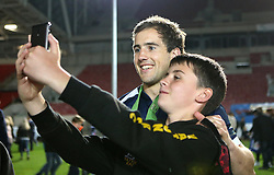 Bristol Rugby replacement Matthew Morgan poses for a selfie with a fan - Mandatory byline: Robbie Stephenson/JMP - 25/05/2016 - RUGBY UNION - Ashton Gate Stadium - Bristol, England - Bristol Rugby v Doncaster Knights - Greene King IPA Championship Play Off FINAL 2nd Leg.