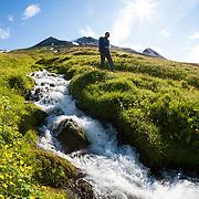 Örn Arngrímsson hiking at Klængshóll travel farm, Skíðadalur, North Iceland.