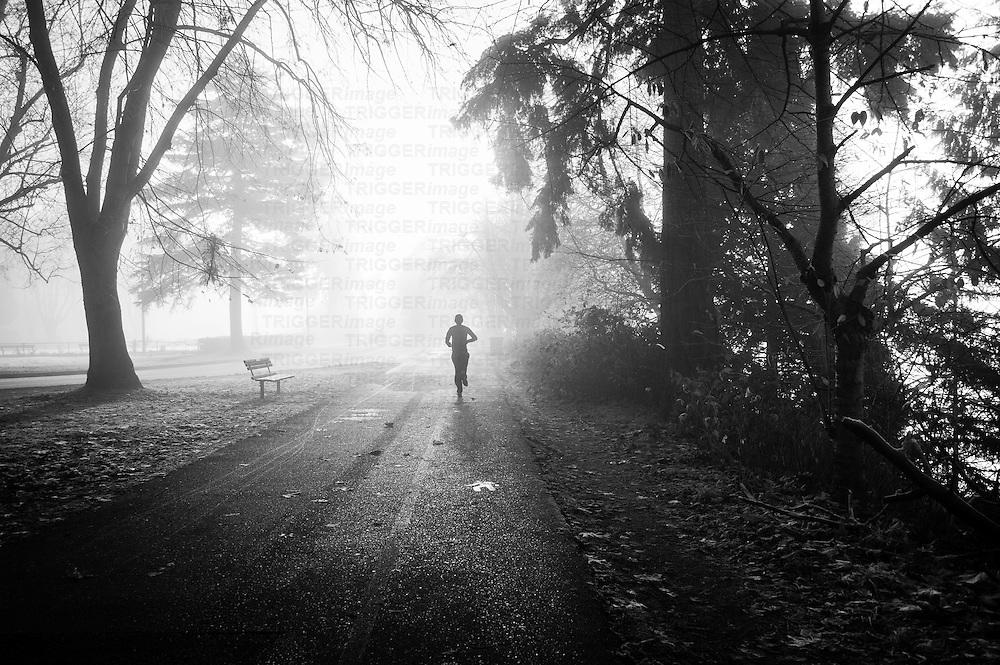 A lone runner, running through the fog toward the sun on an Autumn morning.